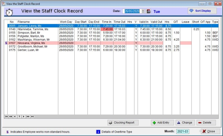 ioClock staff record page Innovative Option software